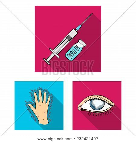 Diabetes Flat Icons In Set Collection For Design. Treatment Of Diabetes Vector Symbol Stock  Illustr