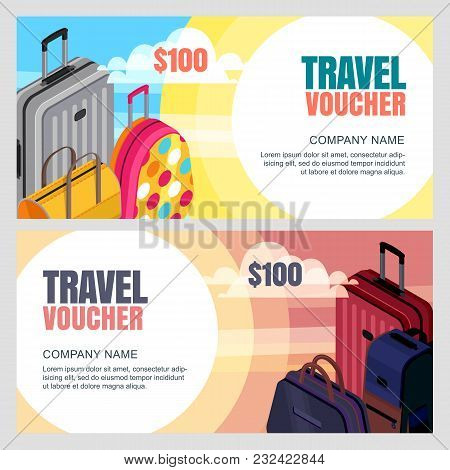 Vector Travel Voucher Template. 3D Isometric Illustration Of Luggage Bags. Banner, Coupon, Certifica