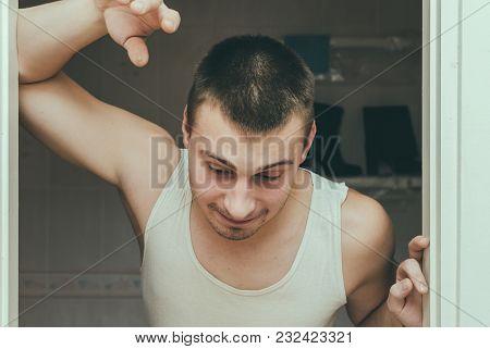 Drunk Guy Barely Standing Near The Door