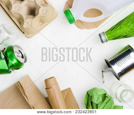 Garbage On Abstract White Background For Recycling Or Reuse Concept