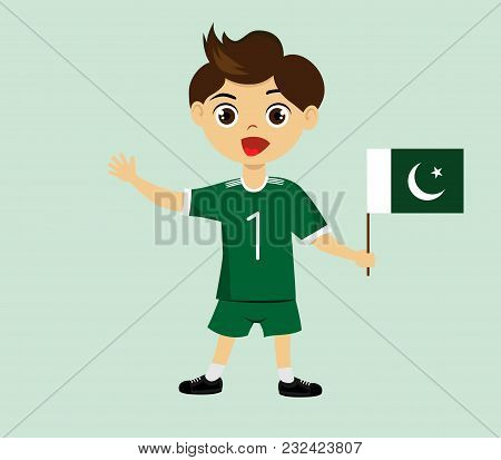 Fan Of Pakistan National Football, Hockey, Basketball Team, Sport. Boy With Pakistan Flag In The Col