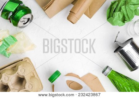 Eco Recycling Concept With Garbage Isolated On Abstract White Background