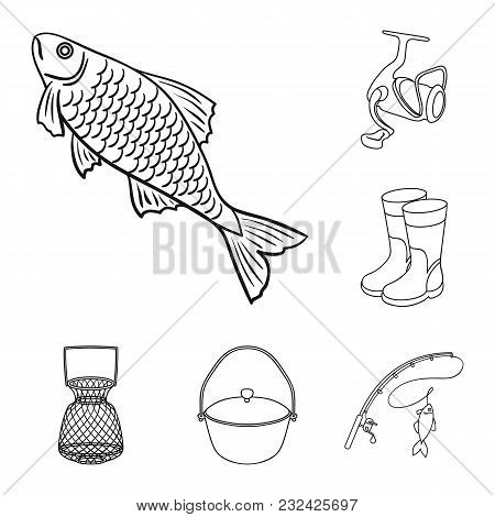 Fishing And Rest Outline Icons In Set Collection For Design. Tackle For Fishing Vector Symbol Stock