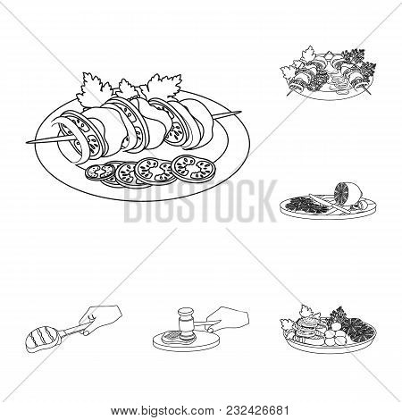 Cooking Food Outline Icons In Set Collection For Design. Kitchen, Equipment And Tools Vector Symbol