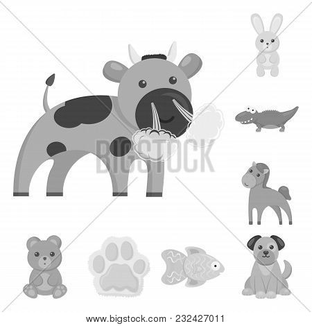 An Unrealistic Animal Monochrome Icons In Set Collection For Design. Toy Animals Vector Symbol Stock