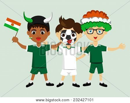 Fan Of Niger National Football, Hockey, Basketball Team, Sports. Boy With Niger Flag In The Colors O