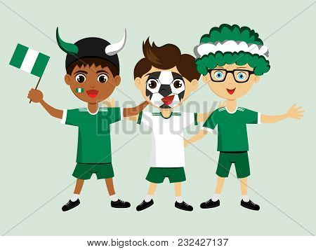Fan Of Nigeria National Football, Hockey, Basketball Team, Sports. Boy With Nigeria Flag In The Colo