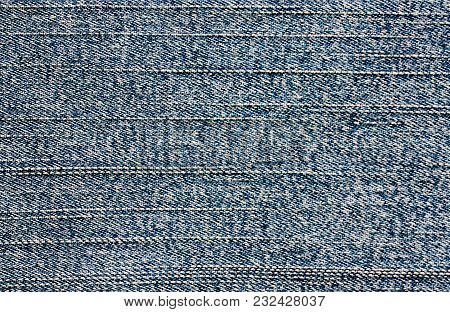 Blue Background Of Denim Fabric. Texture Of Cyan Jeans Cloth. Perfect For Your Text, Wallpaper For W