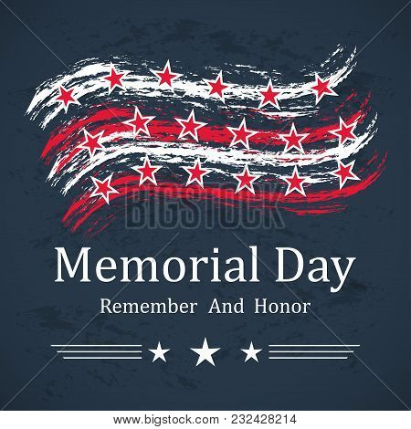 Memorial Day Background With Stars, Stripes And Lettering. Template For Memorial Day. Vector Illustr
