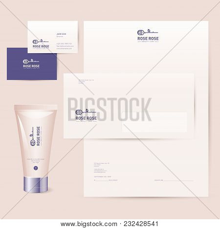 Rose Logo Cosmetics Brand Corporate Identity. Business Cards, Letterhead, Envelope And Mock Up Brand