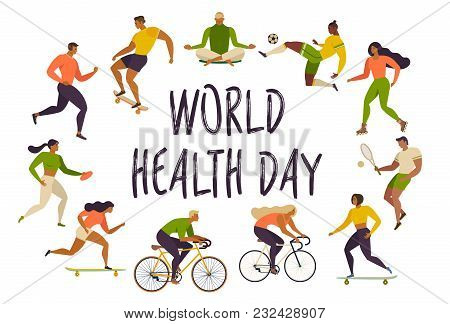 World Health Day Healthy Lifestyle. Roller Skates, Running, Bicycle, Run, Walk, Yoga. Active Young P