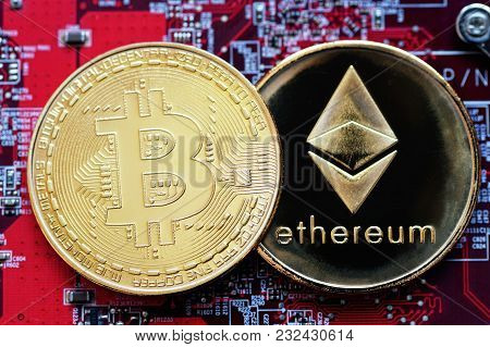 Bitcoin, Btc, Bit Coin. Crypto Currency Ethereum, Eth, Crypto Coin. Macro Shot Of Bitcoin And Ethere