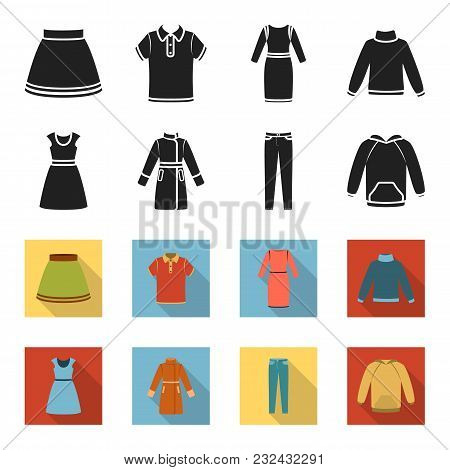 Dress With Short Sleeves, Trousers, Coats, Raglan.clothing Set Collection Icons In Black, Flet Style