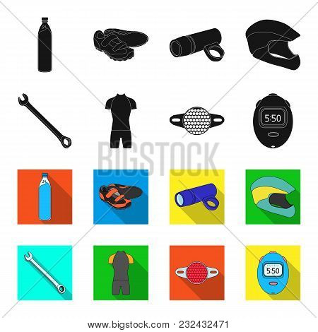 A Wrench, A Bicyclist Bone, A Reflector, A Timer.cyclist Outfit Set Collection Icons In Black, Flet