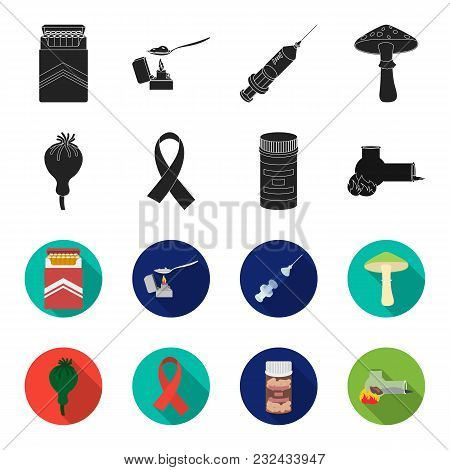 Aids Tape, Tablets, Opium Poppy, A Tube For Hashish.drug Set Collection Icons In Black, Flet Style V