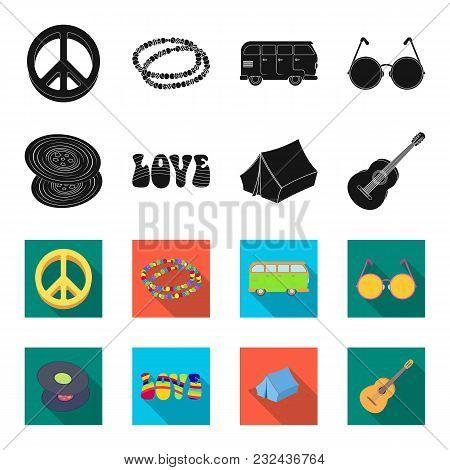 Vinyl Discs, Guitar, Tent.hippy Set Collection Icons In Black, Flet Style Vector Symbol Stock Illust