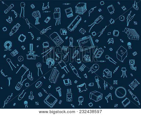 Pattern Containing Various Electronic Components On Blue Background
