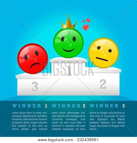 Sad, Neutral And Smiling Face Icons On 3d Prize Podium. Winners Award. Vector Illustration. Winner I