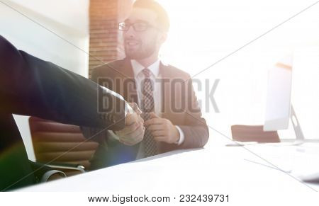 business handshake . photo with copy space.