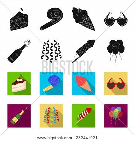 Champagne, Fireworks And Other Accessories At The Party.party And Partits Set Collection Icons In Bl