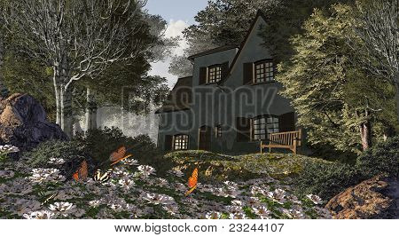 White Flowers And Cottage