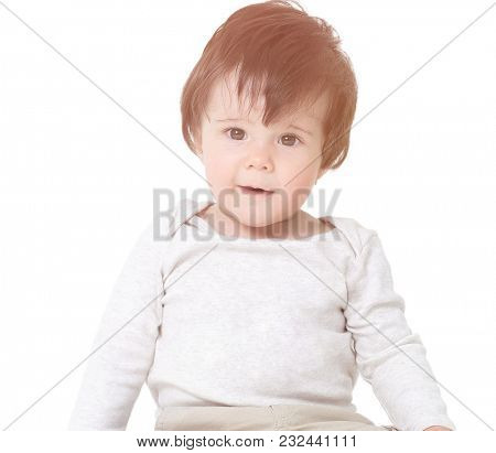 Cute little baby boy, isolated on white