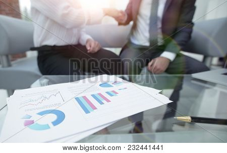 marketing chart on the desktop. business background