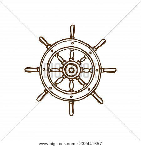 Drawn Illustration Of Wheel In Vector. Marine Background. Naval Symbol