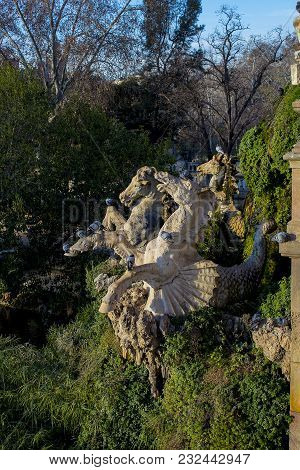 Fountain Cascada Monumental In The Park In The City Of Barcelona In Spain