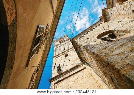 Bergamo, Italy - August 18, 2017: One Of The Beautiful City In Italy. The Old And Historical Buildin
