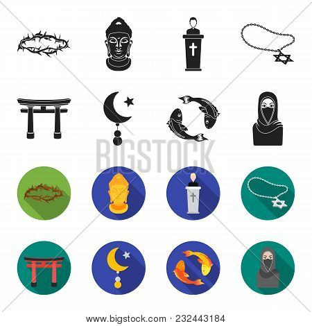 Torii, Carp Koi, Woman In Hijab, Star And Crescent. Religion Set Collection Icons In Black, Flet Sty