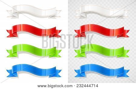 Set Of Colour Ribbon. Decoration Tape. Colour Flag. Vintage Banner. Isolated White Background. Eps10