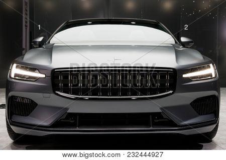 Geneva, Switzerland - March 7, 2018: New Polestar 1 Hybrid Car Presented At The 88th Geneva Internat