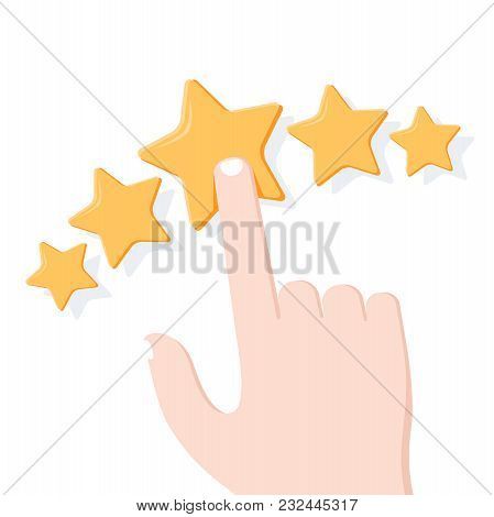 Hand Giving Star Rating. Feedback, Consumer Or Customer Rating, Review, Evaluation, Satisfaction Lev