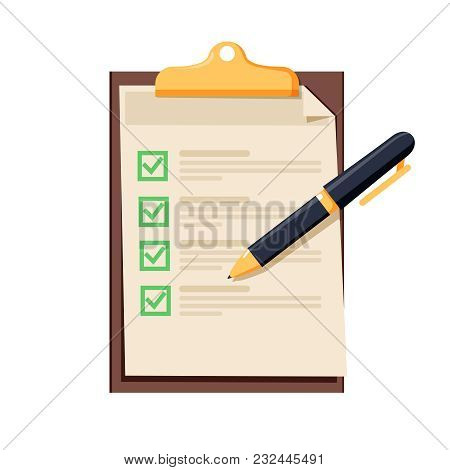 Checklist Icon. Document With Green Ticks Checkmarks. Checklist And Pen. Application Form, Complete
