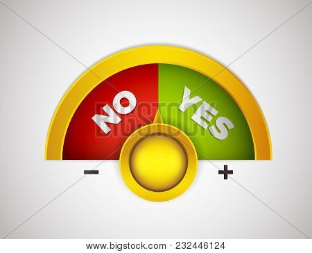 Yes Or No Choice Meter With Yellow Button. Vector Concept Illustration With Red And Green