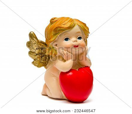 The Angel Gazes Thoughtfully At The Elbow, Leaning On His Heart.