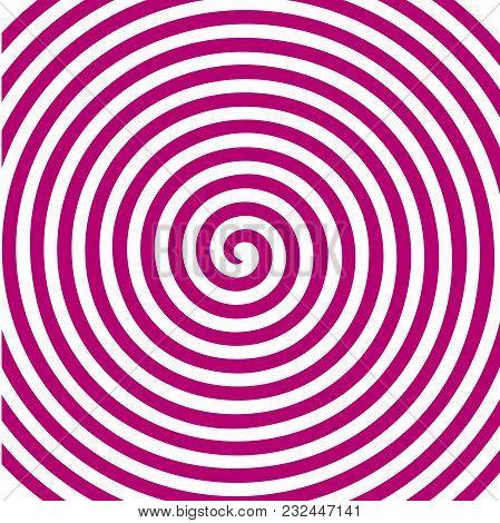 White Pink Round Abstract Vortex Hypnotic Spiral Wallpaper. Vector Illustration Optical Illusion Spi