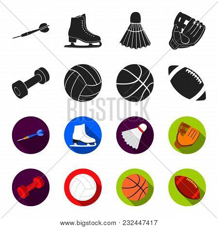 Blue Dumbbell, White Soccer Ball, Basketball, Rugby Ball. Sport Set Collection Icons In Black, Flet