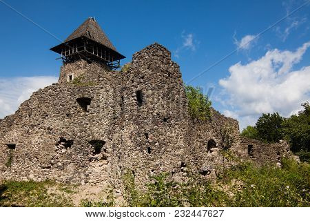 Ruins Of Castle Nevytske In Transcarpathian Region. Main Keep Tower (donjon, Ukraine
