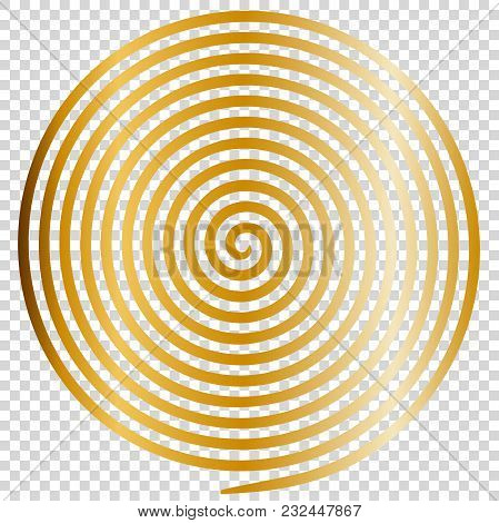 Gold Round Abstract Vortex Hypnotic Spiral. Vector Illustration Optical Illusion Helix Anaglyph Opt