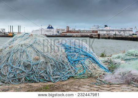 Fishing Nets On Dock Port Of Calais, France