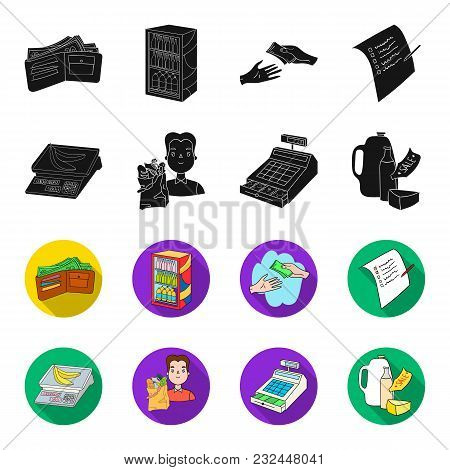 Package, Scales, Banana, Fruit .supermarket Set Collection Icons In Black, Flet Style Vector Symbol
