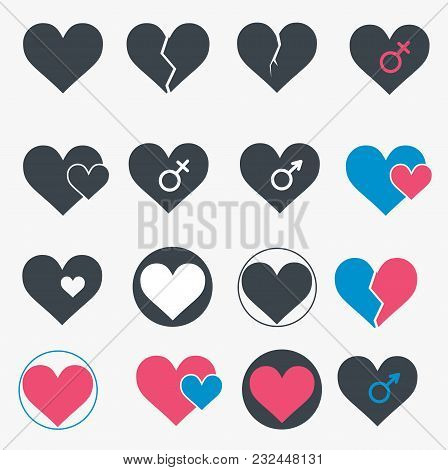 Set Of Heart Icons. Simple Style. Vector