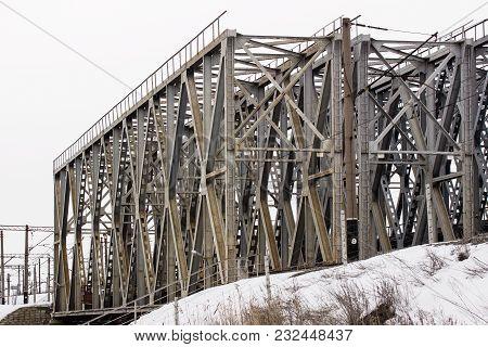 Huge Metal Construction Railway Bridge Concept Of Electric Transport
