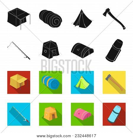 Spinning For Fishing, Tent, Thermos.tent Set Collection Icons In Black, Flet Style Vector Symbol Sto