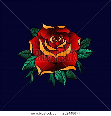 Red Beautiful Rose Flower With Green Leaves, Floral Design Vector Illustration On A Dark Blue Backgr