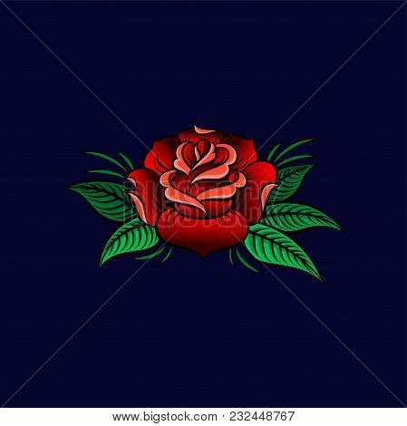Red Beautiful Rose Flower With Leaves, Floral Design Vector Illustration On A Dark Blue Background I
