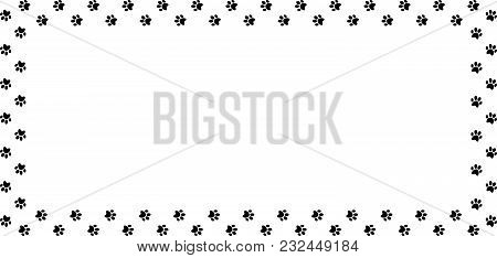 Rectangle Frame Made Of Black Animal Paw Prints On White Background. Vector Illustration, Template,