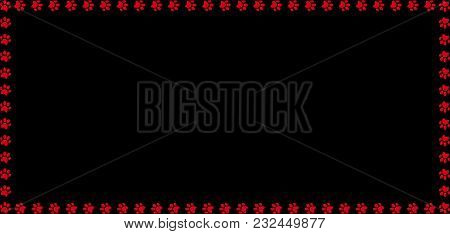 Rectangle Frame Made Of Red Animal Paw Prints On Black Background. Vector Illustration, Template, Bo